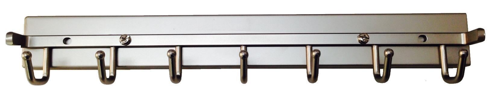 Satin Nickel Closet Belt Rack With Push To Open Slides.