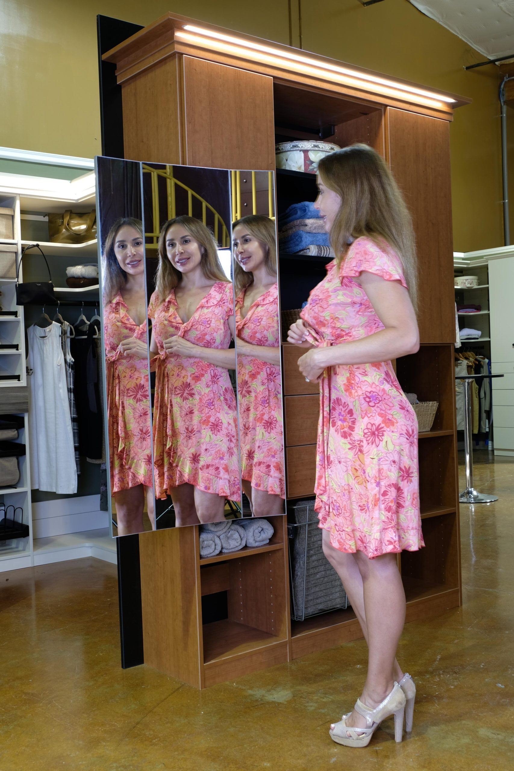 3 way pull out closet mirror